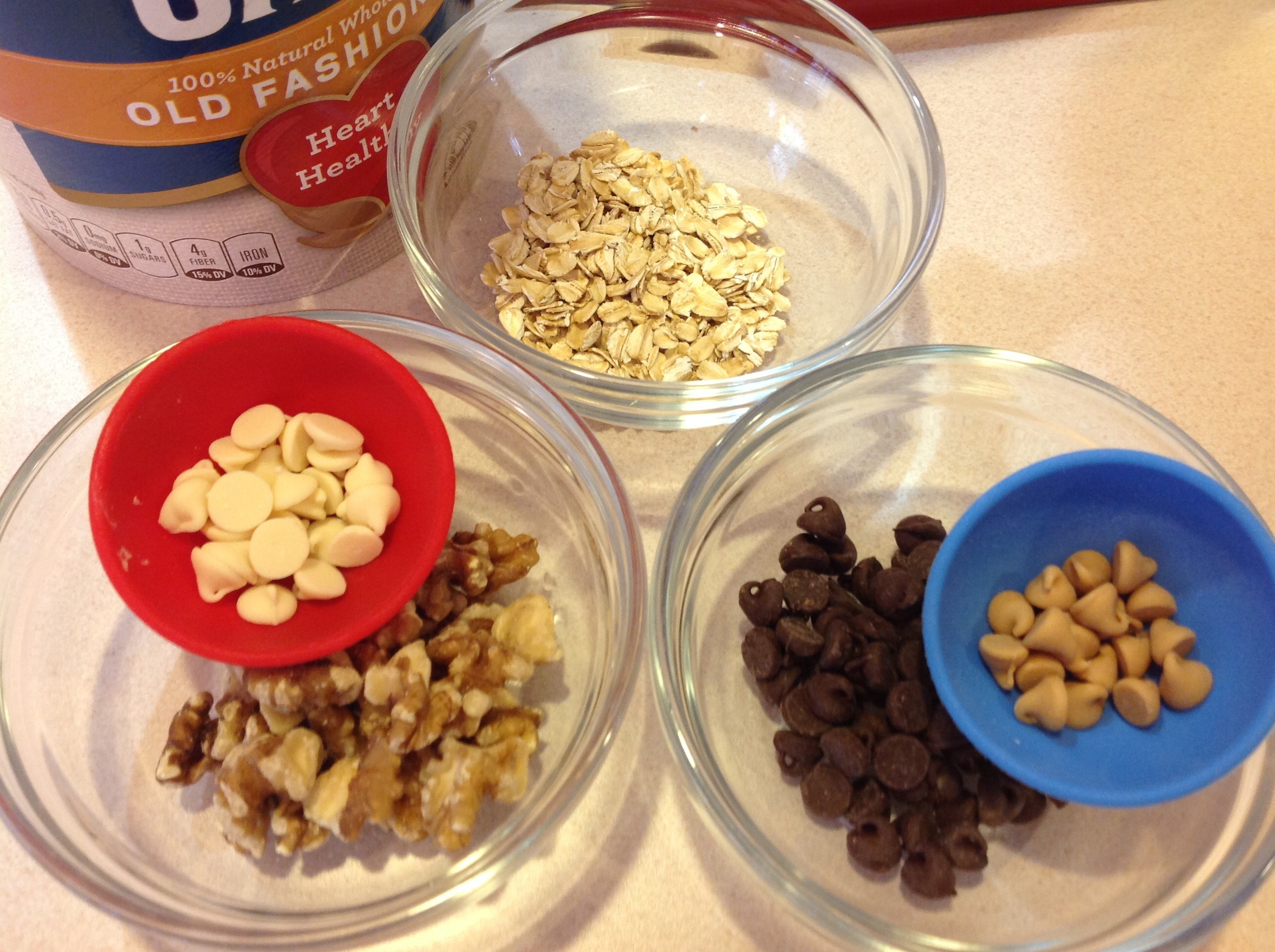 Oats, walnuts and three different kinds of chips ... oh my!
