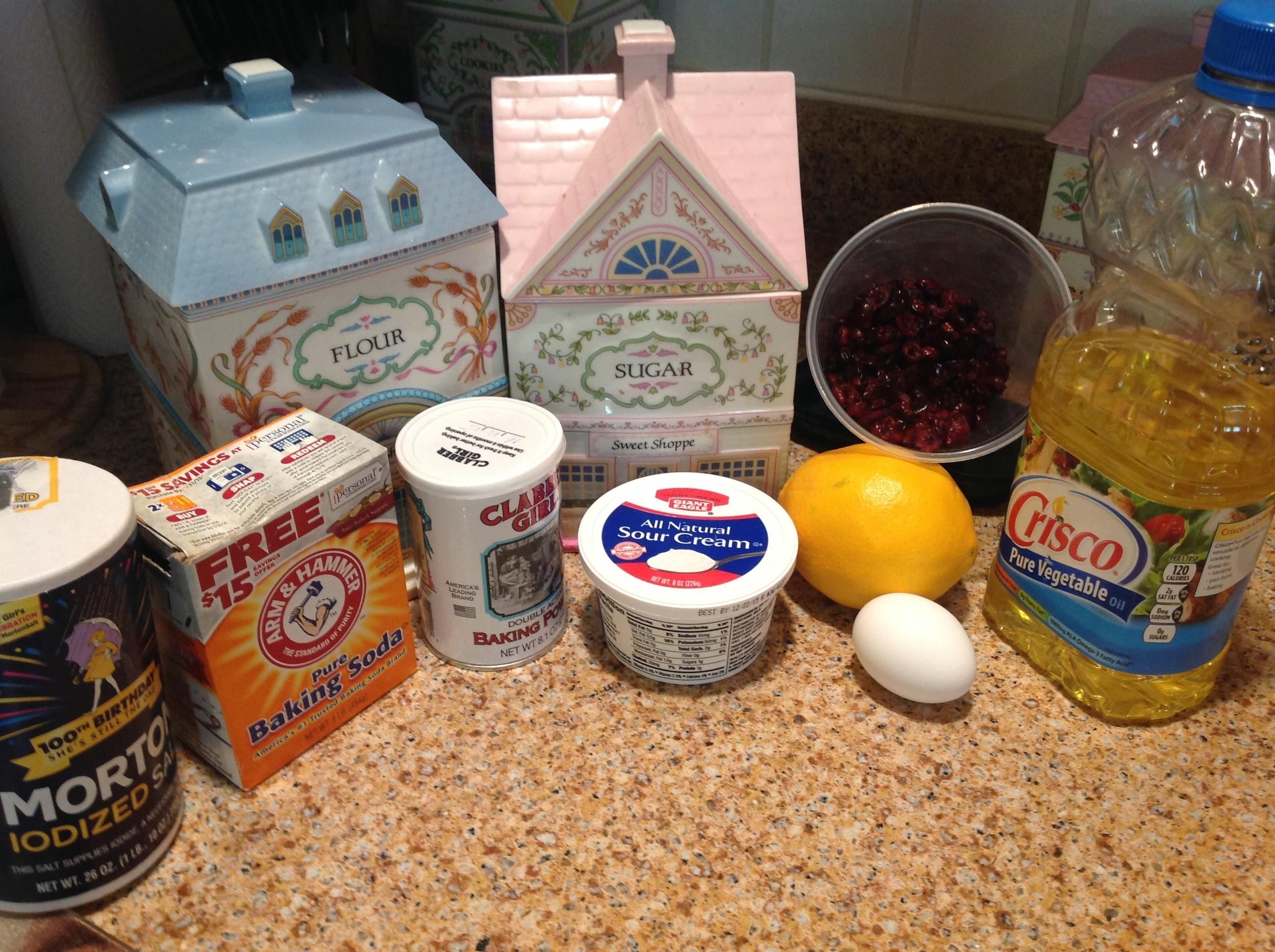 Ingredients for Cranberry Orange Tea Loaf