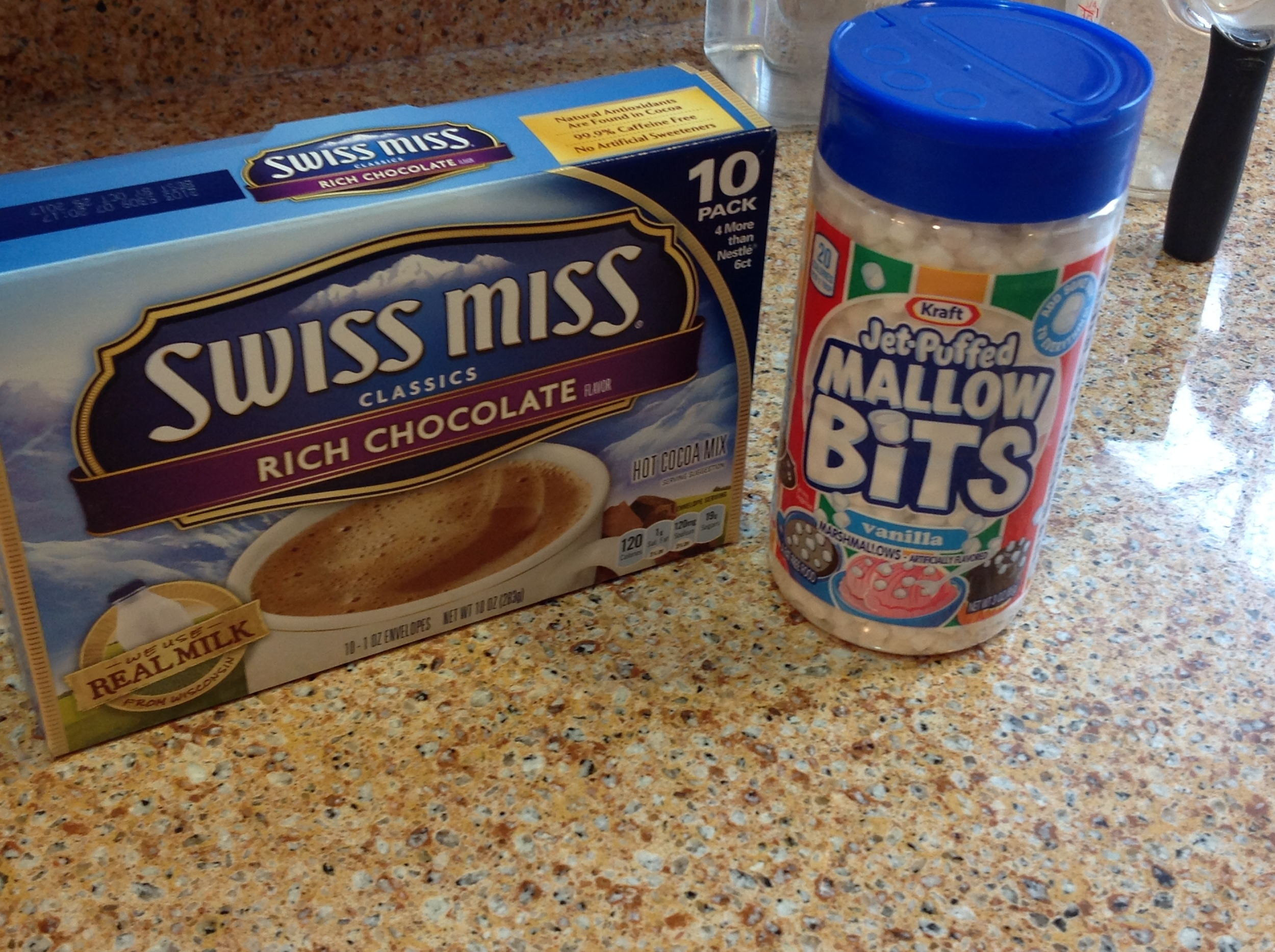 I used Swiss Miss cocoa and Kraft Mallow Bits