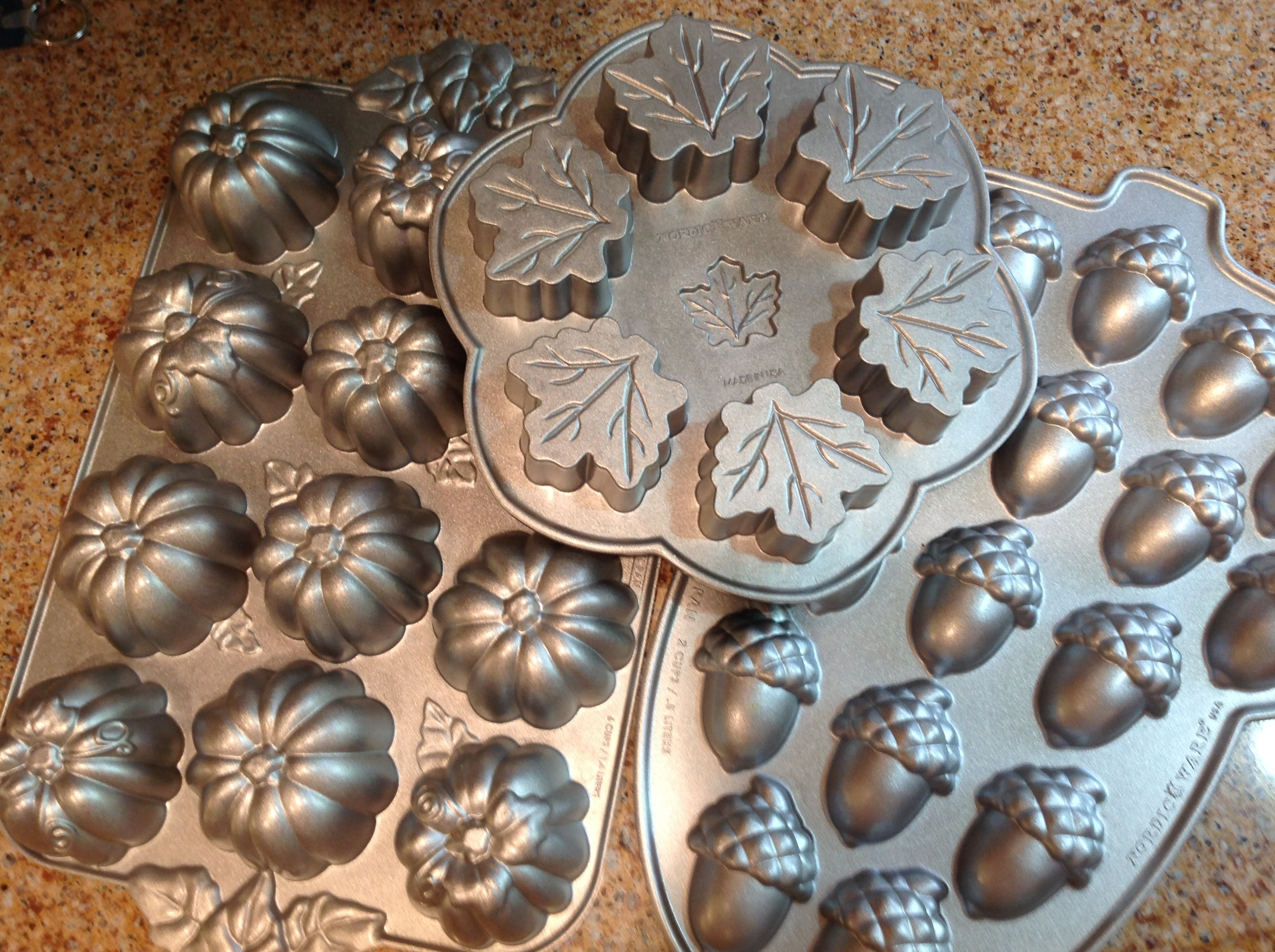 Autumnal themes baking pans by NordicWare.
