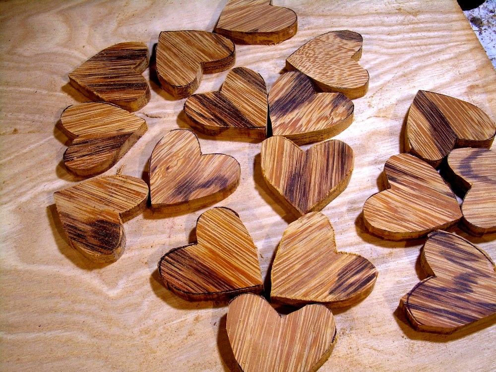 "2016 new hearts, unfinished tiger caspi, ready for sanding and inlay (approx. 1.5"")."