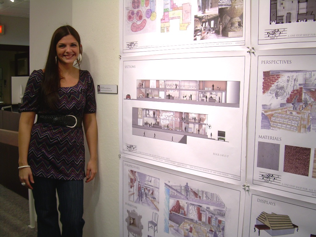Alyssia with her final project at Suffolk University quite a few years ago now.