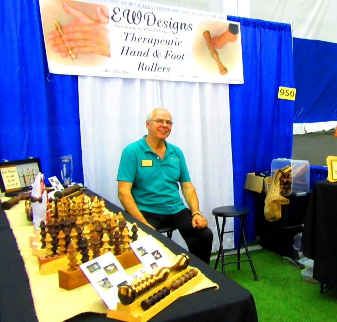 EW Designs makes and sells therapeutic hand and foot rollers, very popular at the shows.