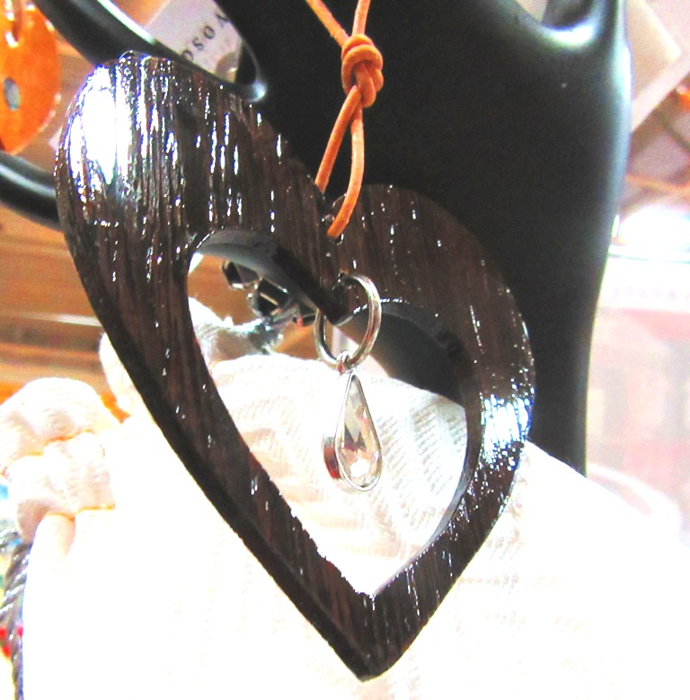 Wenge wood heart with open heart center and hanging jewel
