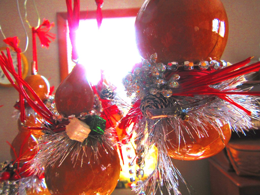 holiday decorated gourd ornaments