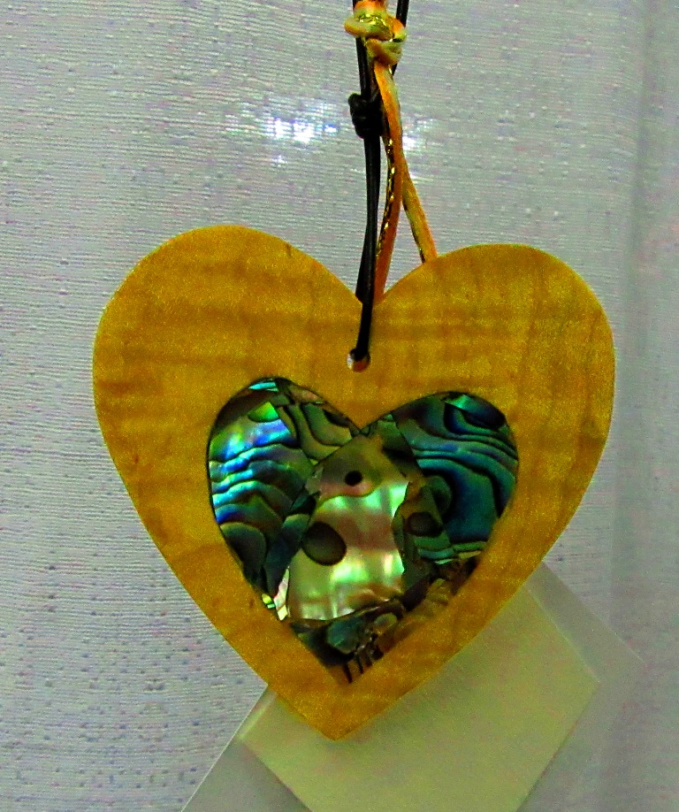 Curly Maple heart with Abalam mosaic heart inlay