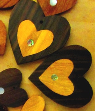 Ebony wood hearts with Osage Orange heart inlay and abalone dot center inlay