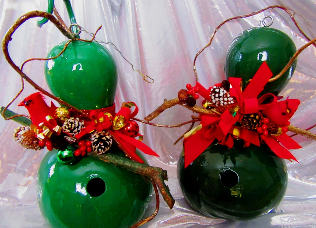 green painted and varnished for outdoors holiday birdhouse gourds