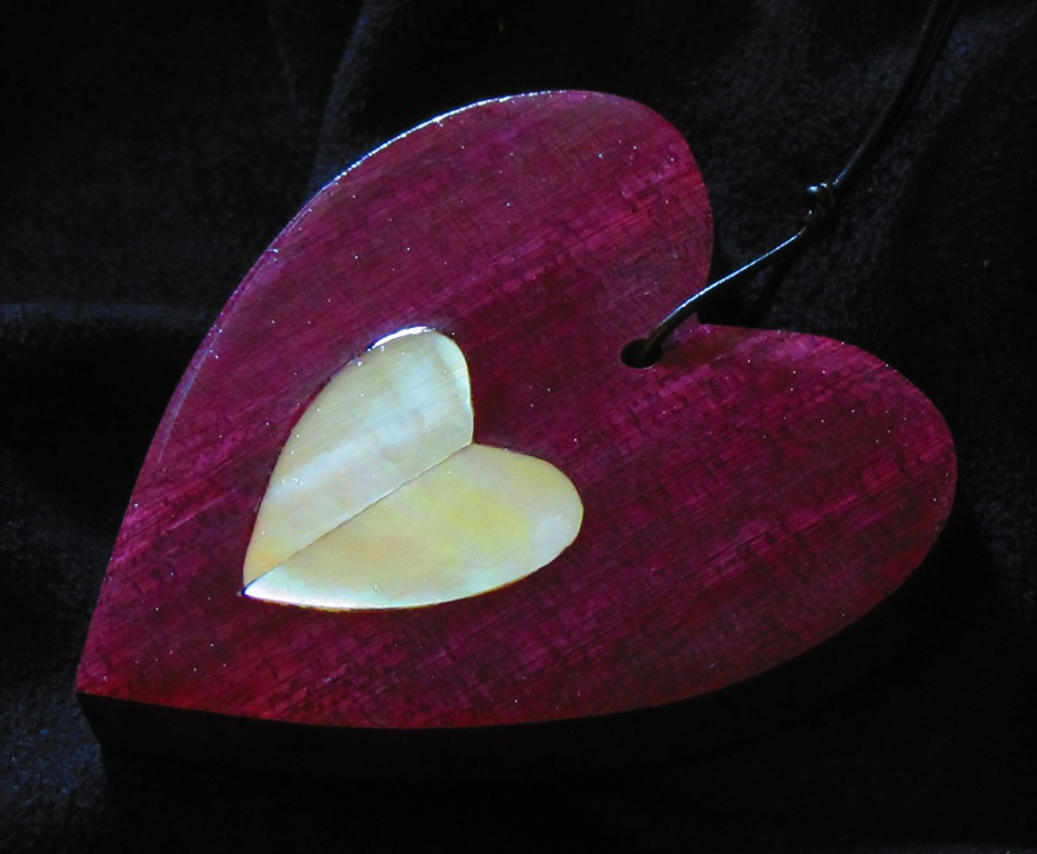 "3"" Purpleheart wood heart with Golden Mother-of-Pearl split heart inlay"