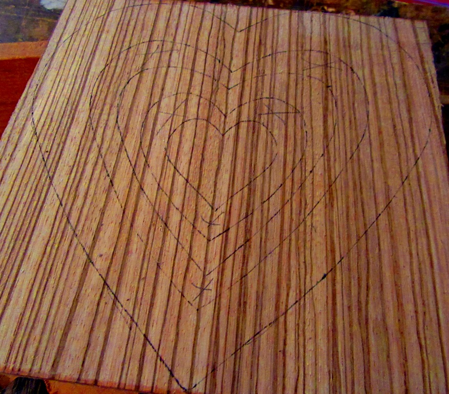 Zebrawood for hanging 3 heart piece