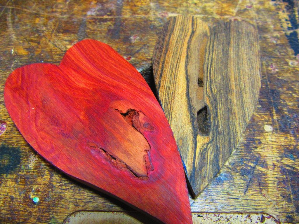raw Redheart and Bocote hearts