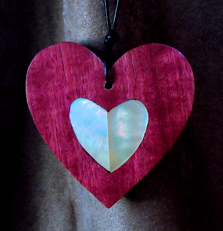 """3"""" Purpleheart wood heart with Golden Mother-of-Pearl split heart inlay"""