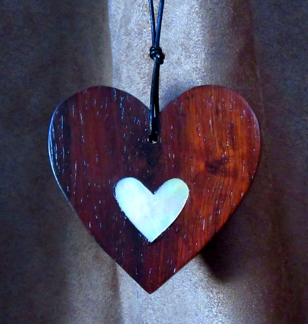"""3"""" Rosewood heart with small, solid Mother-of-Pearl heart inlay"""