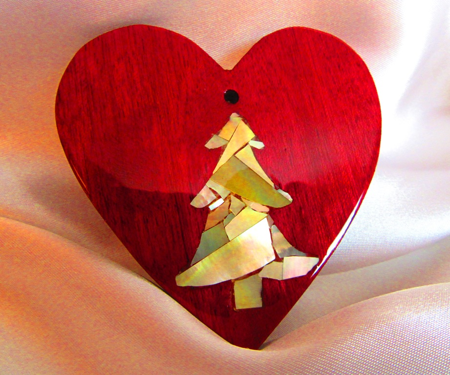 """3"""" Purpleheart wood heart with Golden Mother-of-Pearl tree mosaic inlay"""