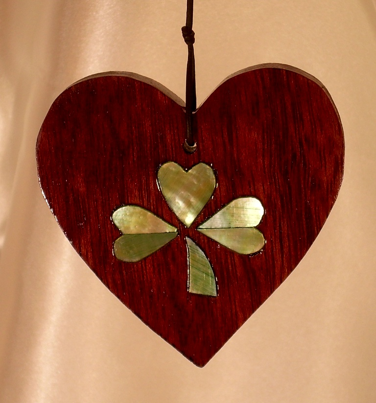 """3"""" Purpleheart wood heart with green tinted Golden Mother-of-Pearl split shamrock inlay"""