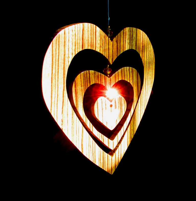 """7"""" 3 heart Zebrawood hanging piece with beads and Mother-of-Pearl solid heart inlay in small heart"""