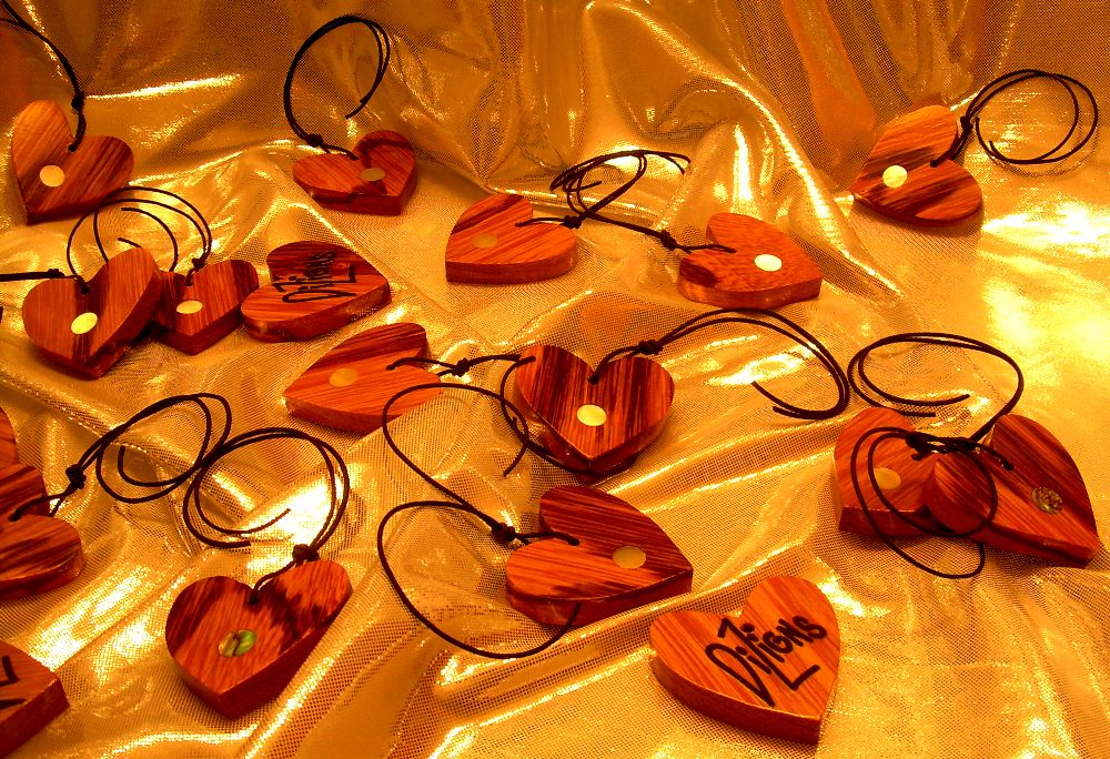 """""""Pearl of my Hearts"""" made from Marblewood and Tiger Caspi (put with my drawstring bags, I made them for the 2016 Made in NH Expo for their marketing campaign)"""