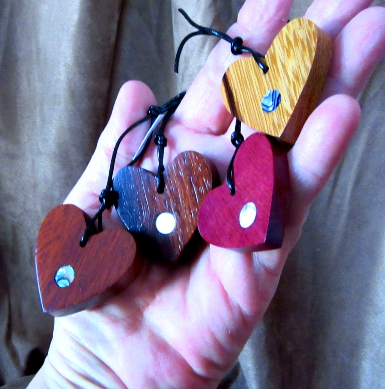Mahogany, Rosewood, Purpleheart and Marblewood hearts with Abalone and Golden Mother-of-Pearl dot inlays