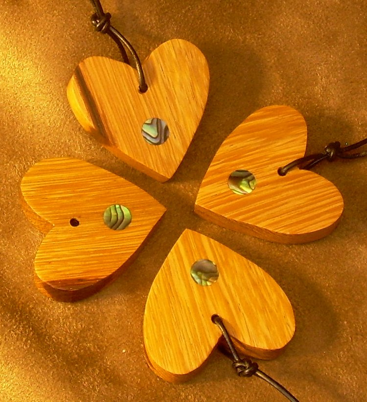 Marblewood hearts with Abalone dot inlays