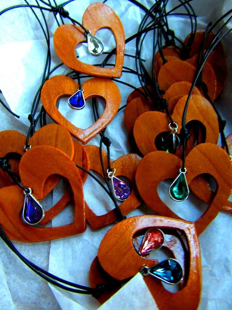 Mahogany thins with heart cutout and jewel emebellishment
