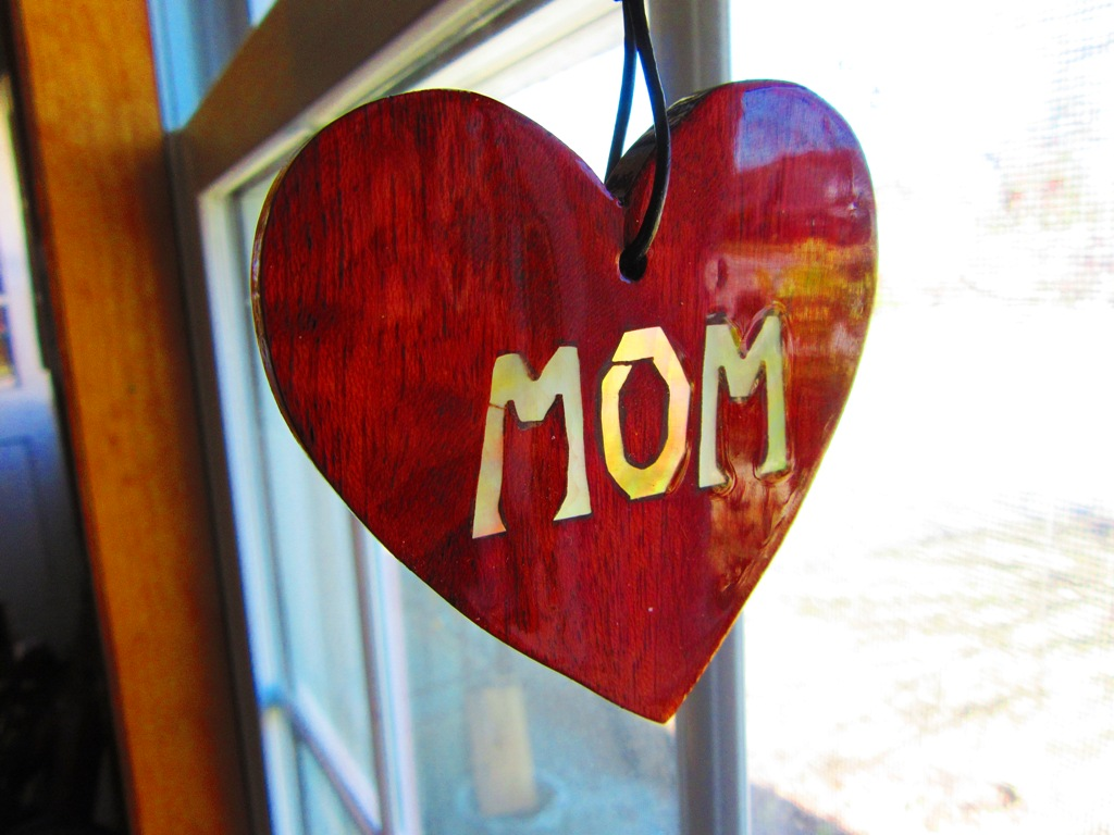 """Purpleheart wood heart with Golden Mother-of-Pearl """"MOM"""" inlay"""