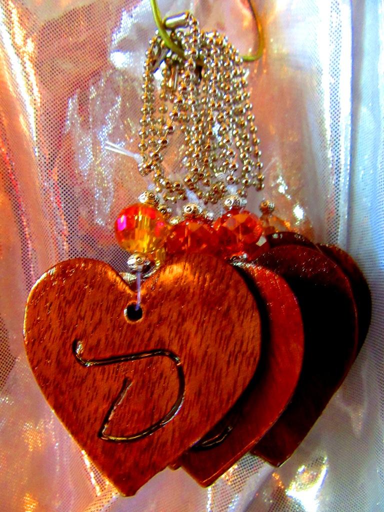Mahogany thin hearts with jewel embellishment