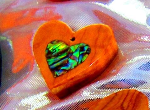 Osage Orange heart with Abalam mosaic heart inlay