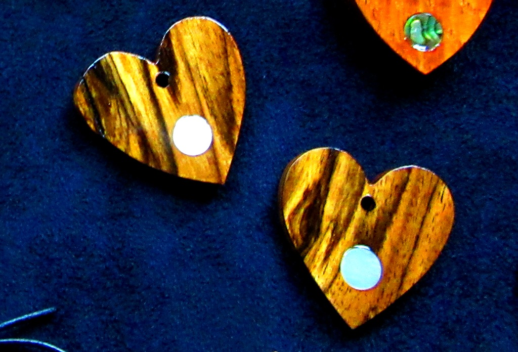 "less than 2"" Black and White Ebony hearts with Mother-of-Pearl dot inlays"