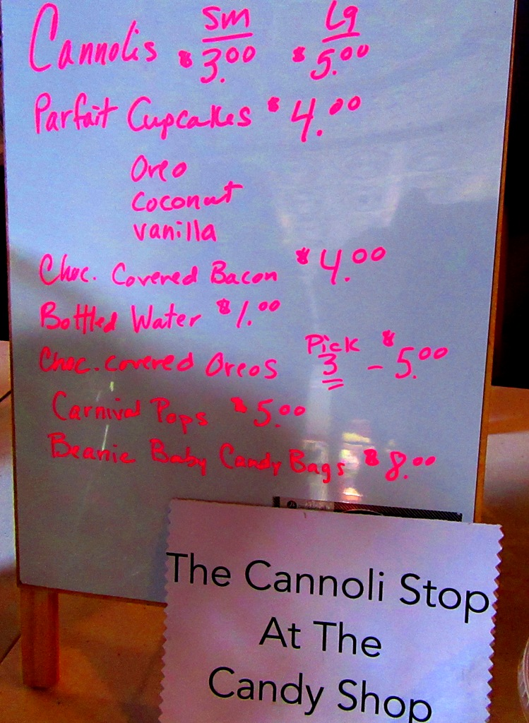 The Cannoli Stop's menu….I can't believe I missed the chocolate covered bacon!