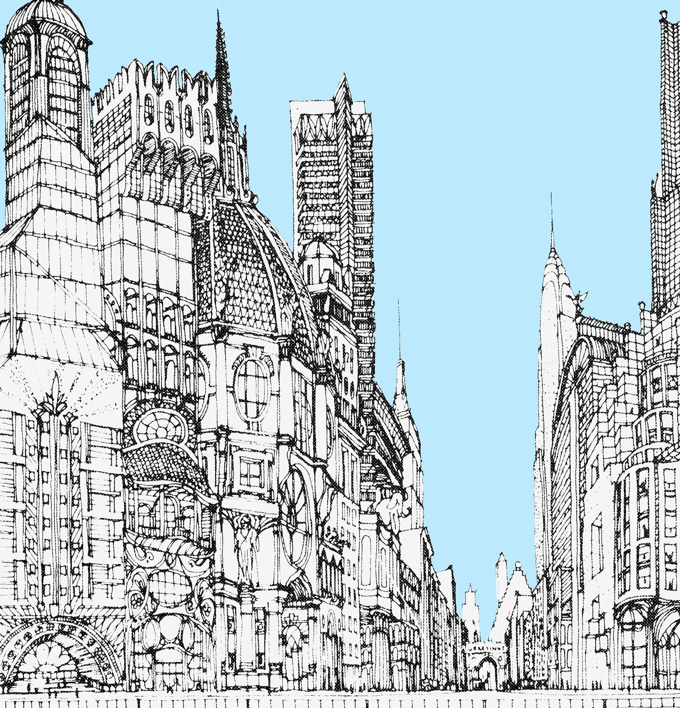 Fantastical drawing of a city street based on Midtown Zoning's Daylight Evaluation Chart (Kwartler/Janes)