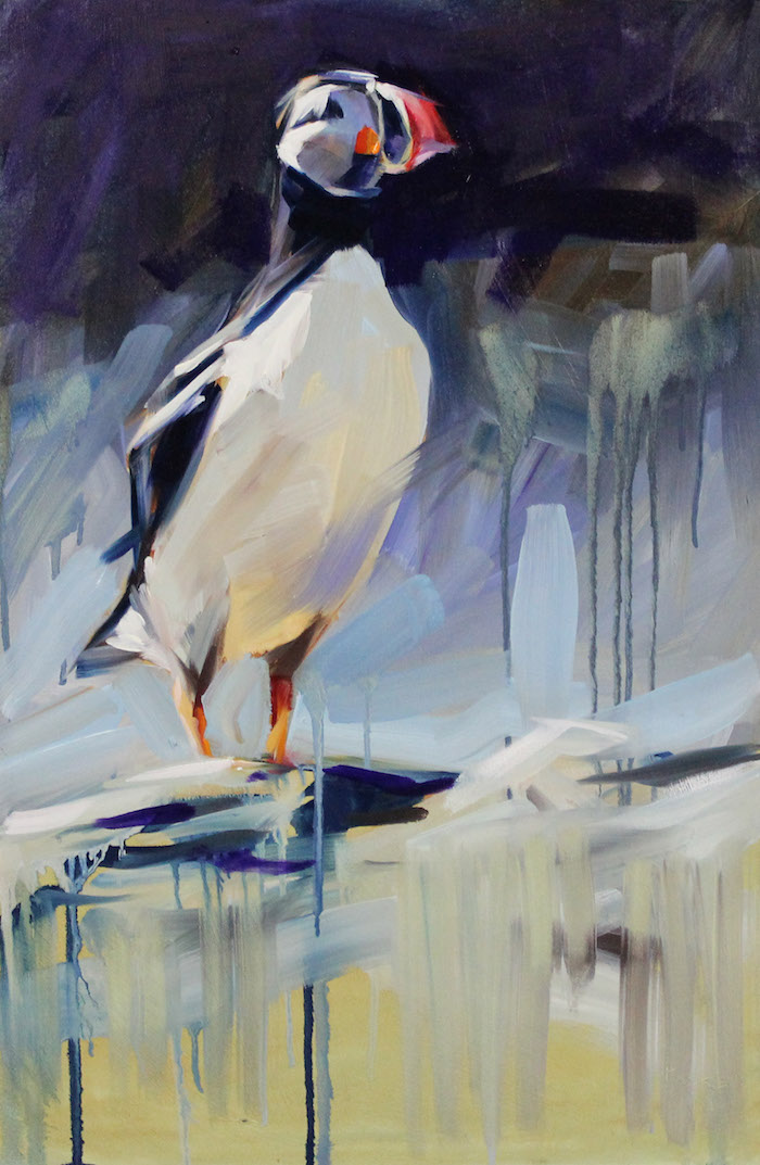 THE PENSIVE PUFFIN * S O L D * Oil on Canvas Board 610x 390mm