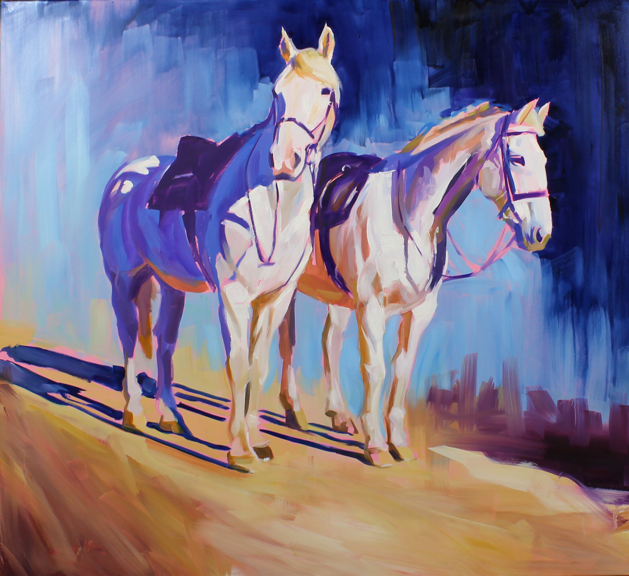 20.  Two greys ready to go (UK) , oil on canvas, 120x90cm, POA