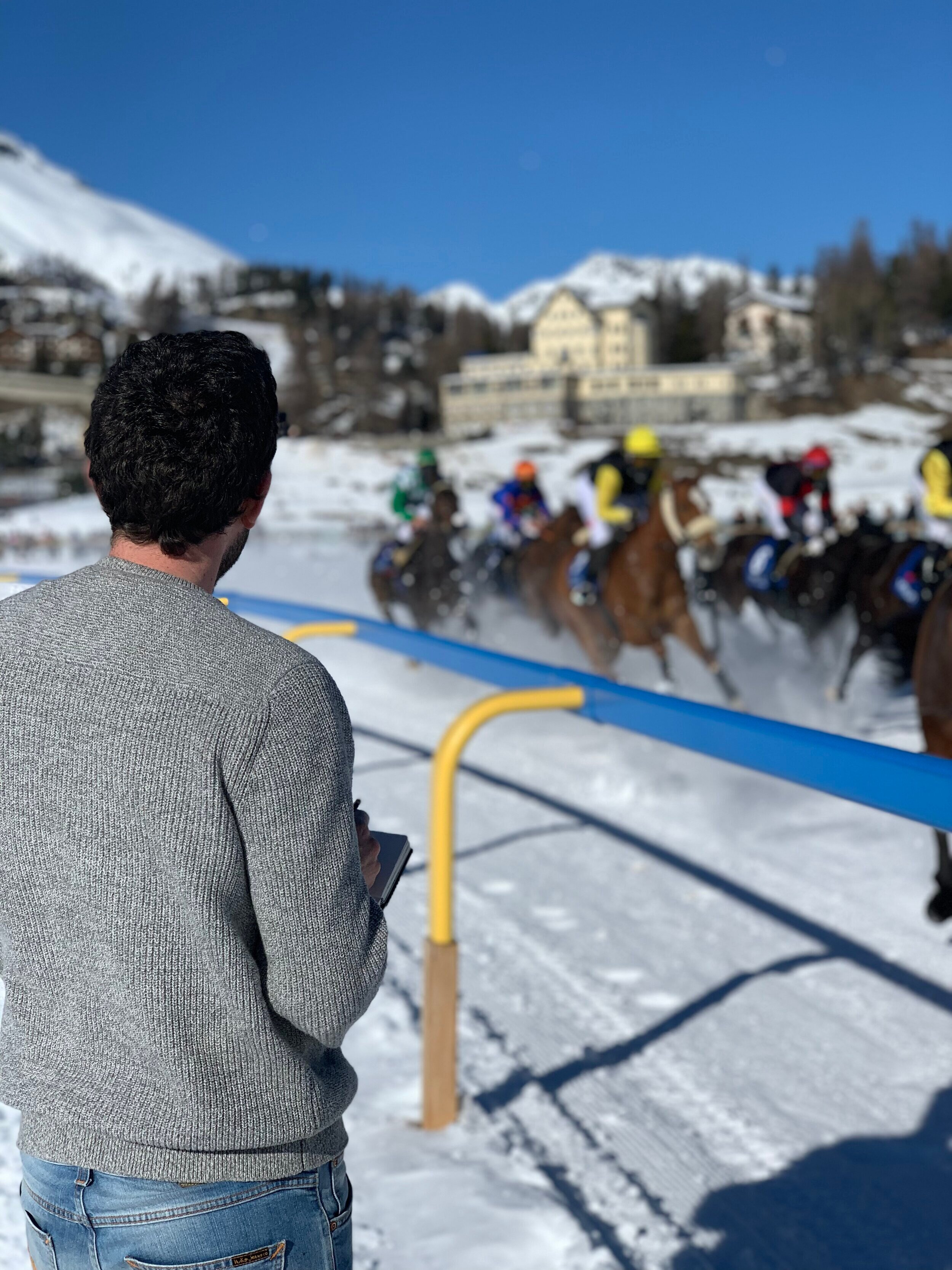 The artist track side at The White Turf, St Moritz