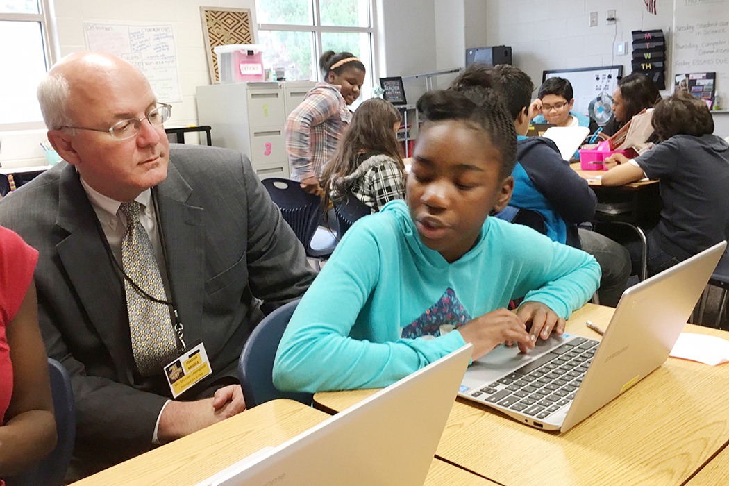 Mike Levengood of the Law Office of J. Michael Levengood at Jordan Middle School