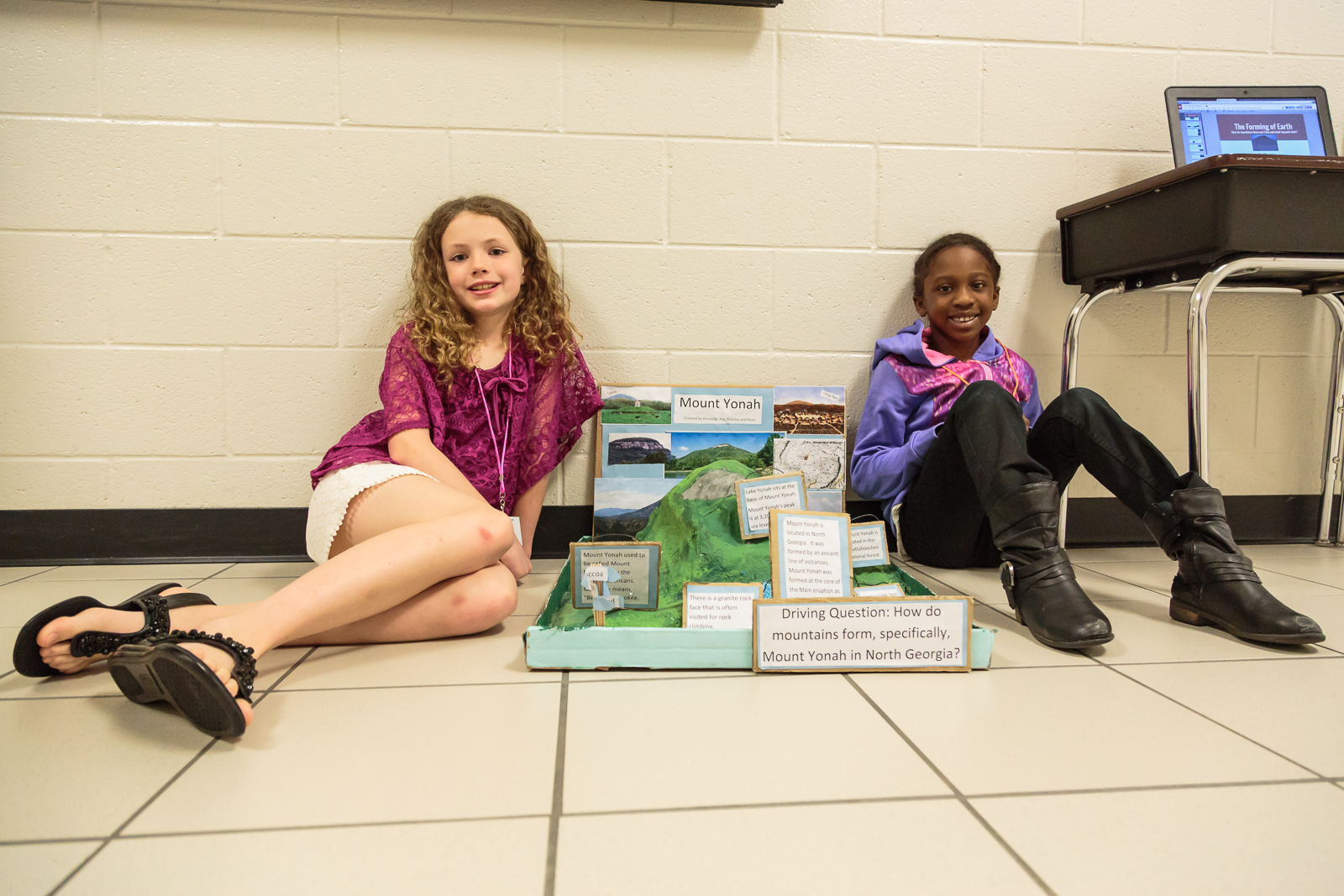 "Mountain formation was the driving question for  Kennedy  and  Ari , 3rd graders. The two collaborated on the project, narrowing their shared focus to Mount Yonah in the nearby Northeast Georgia mountains. Kennedy says collaboration with new people can be hard, but ""what helped was that we were all focused on our driving question."""