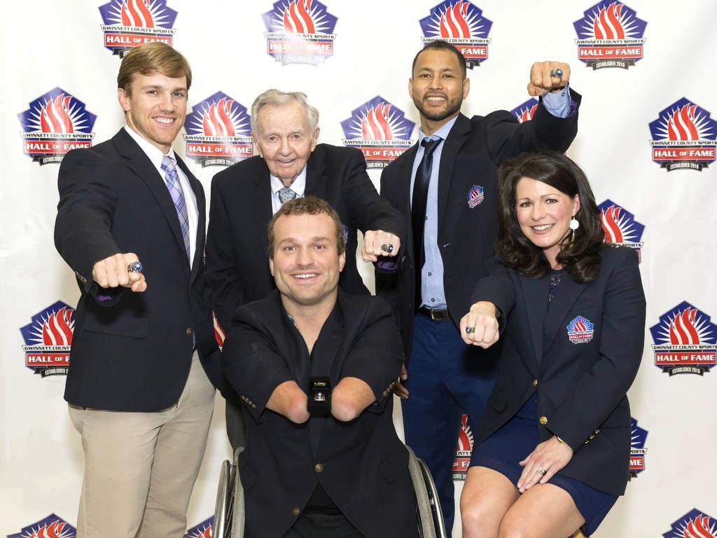 (Back Row L-R):  Chad Hall,  Coach Jack Britt,  Tony Akins    (Front Row L-R):  Kyle Maynard,  Courtney Puckett Oro