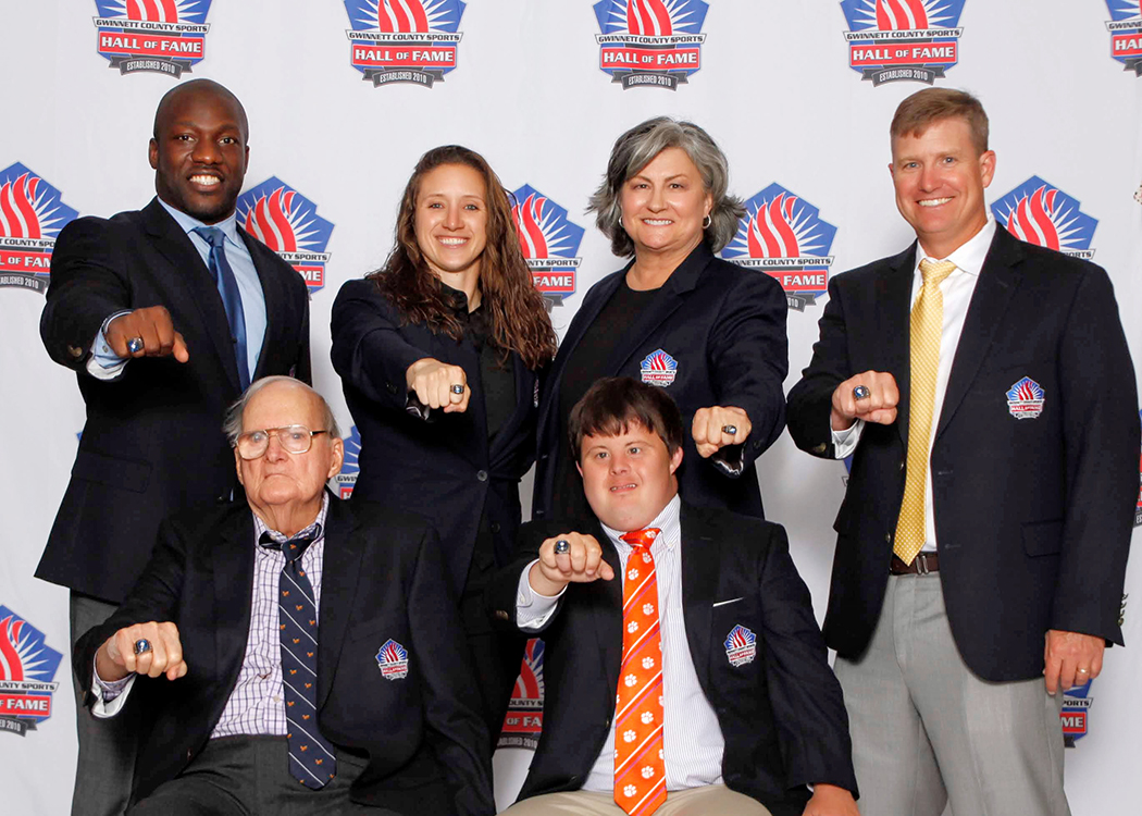 First row: Coach John Sawyer, David Saville Second row: Rennie Curran, Megan Wiggins, Coach Angie Hembree, Coach Mickey Conn