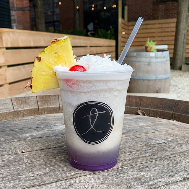 Come cool down with a frozen Dudley's Blue Hawaiian - Pineapple Milkshake IPA, house-made blue Curaçao syrup, coconut and pineapple juice.