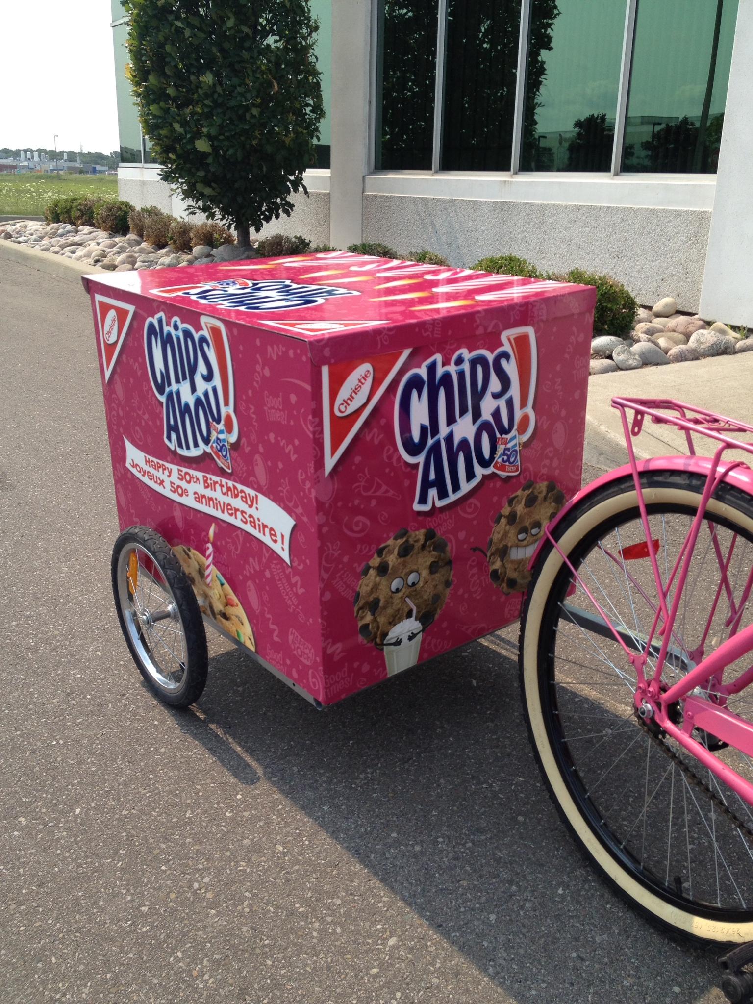 Chips Ahoy bike trailer wrap