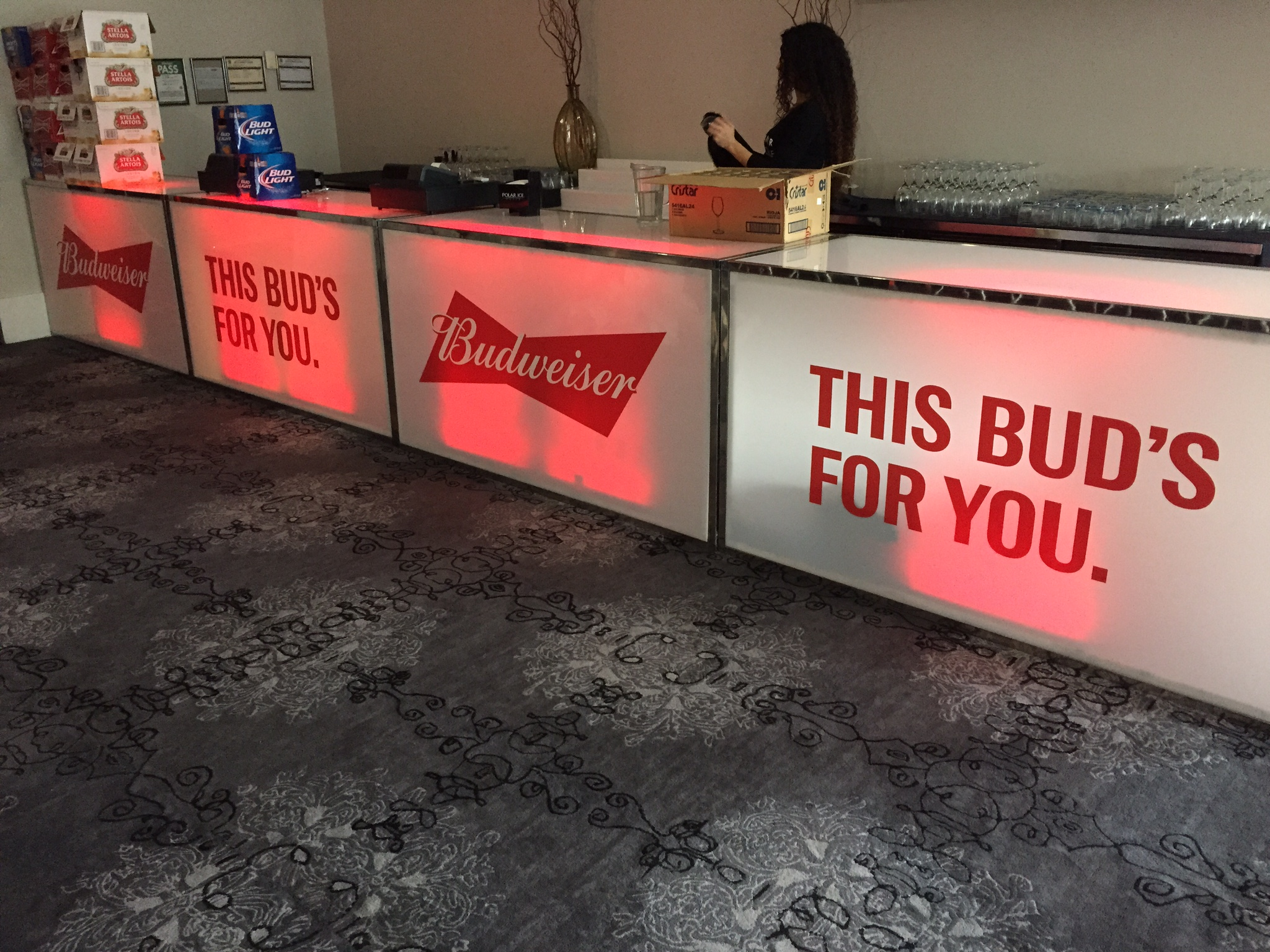 Vinyl-cut bar decals - Budweiser