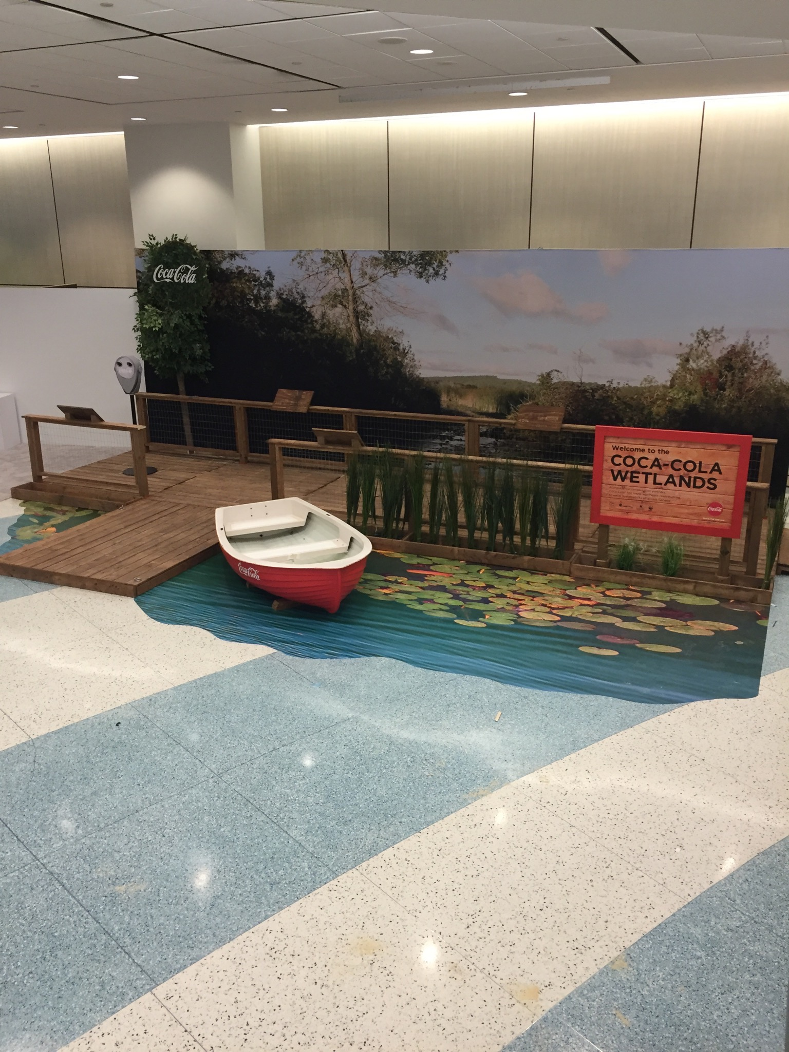Coke Wetlands: custom-built space with backdrop and floor graphic