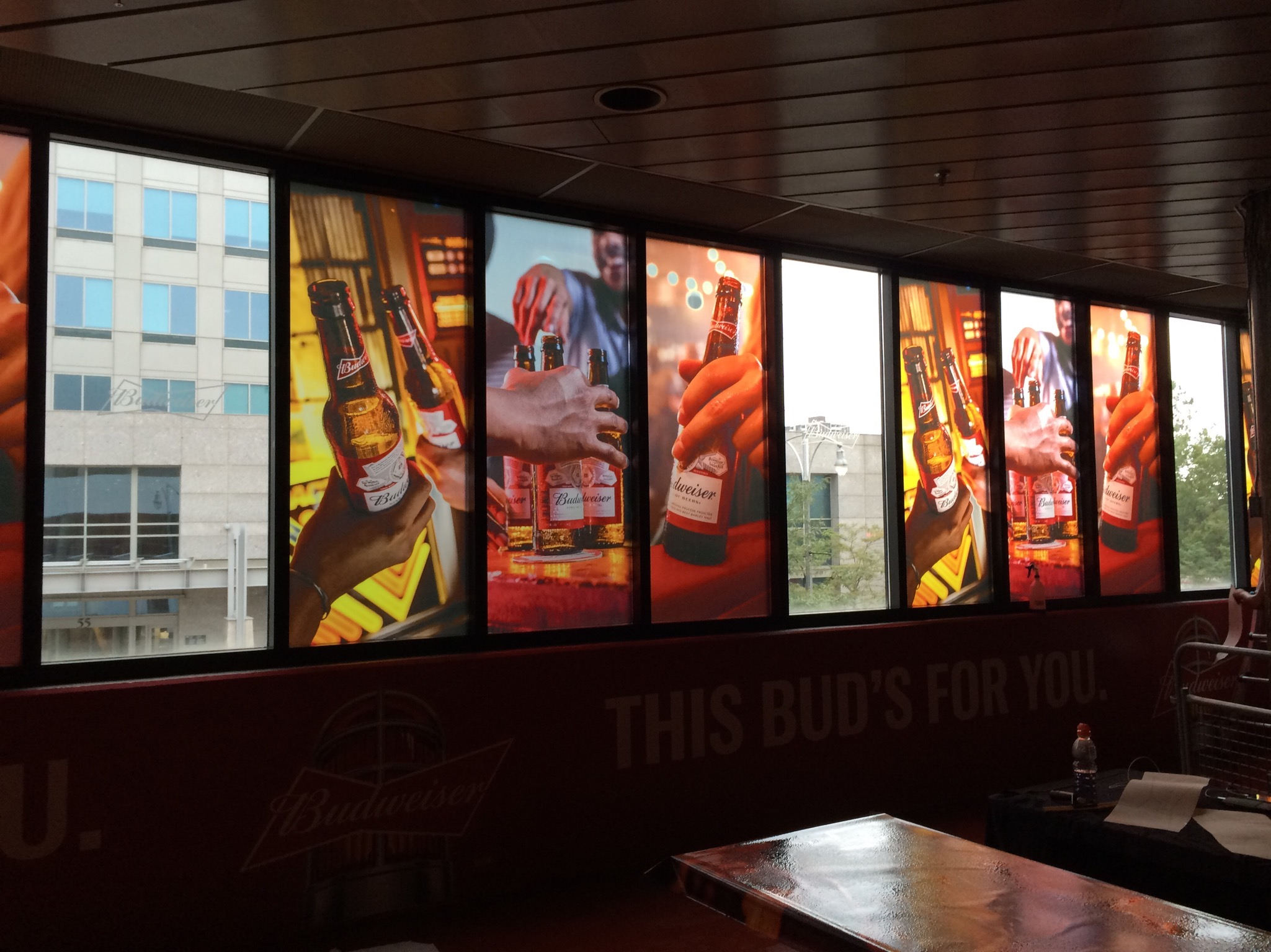 Budweiser window graphics at First Ontario Centre, Hamilton