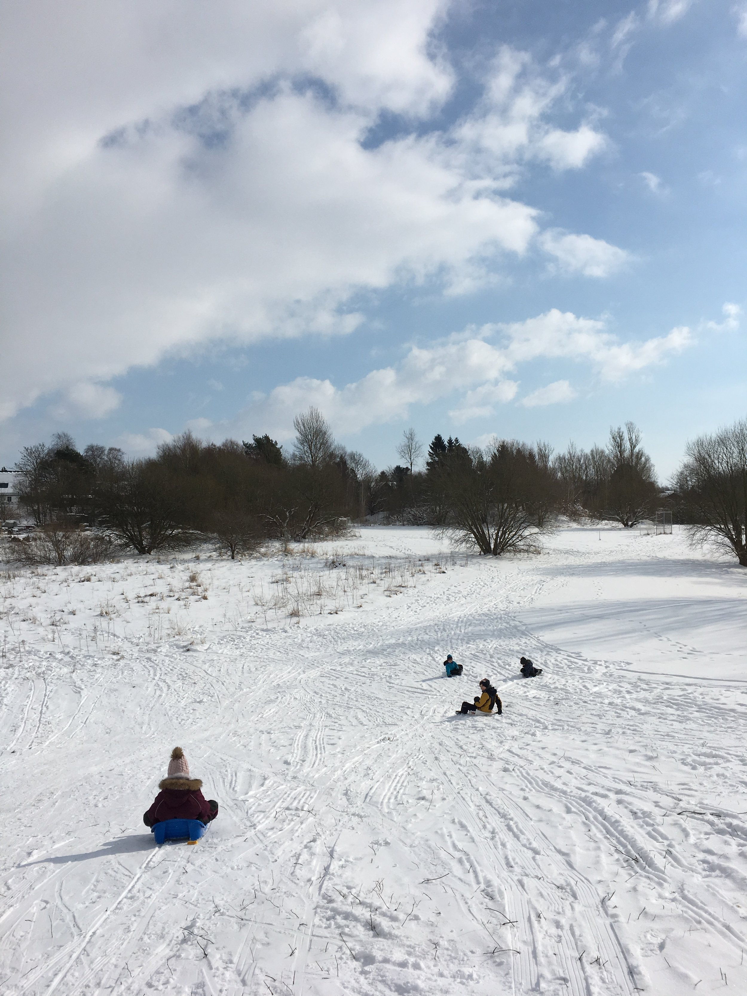 The kids at the slope next to our home in Sweden