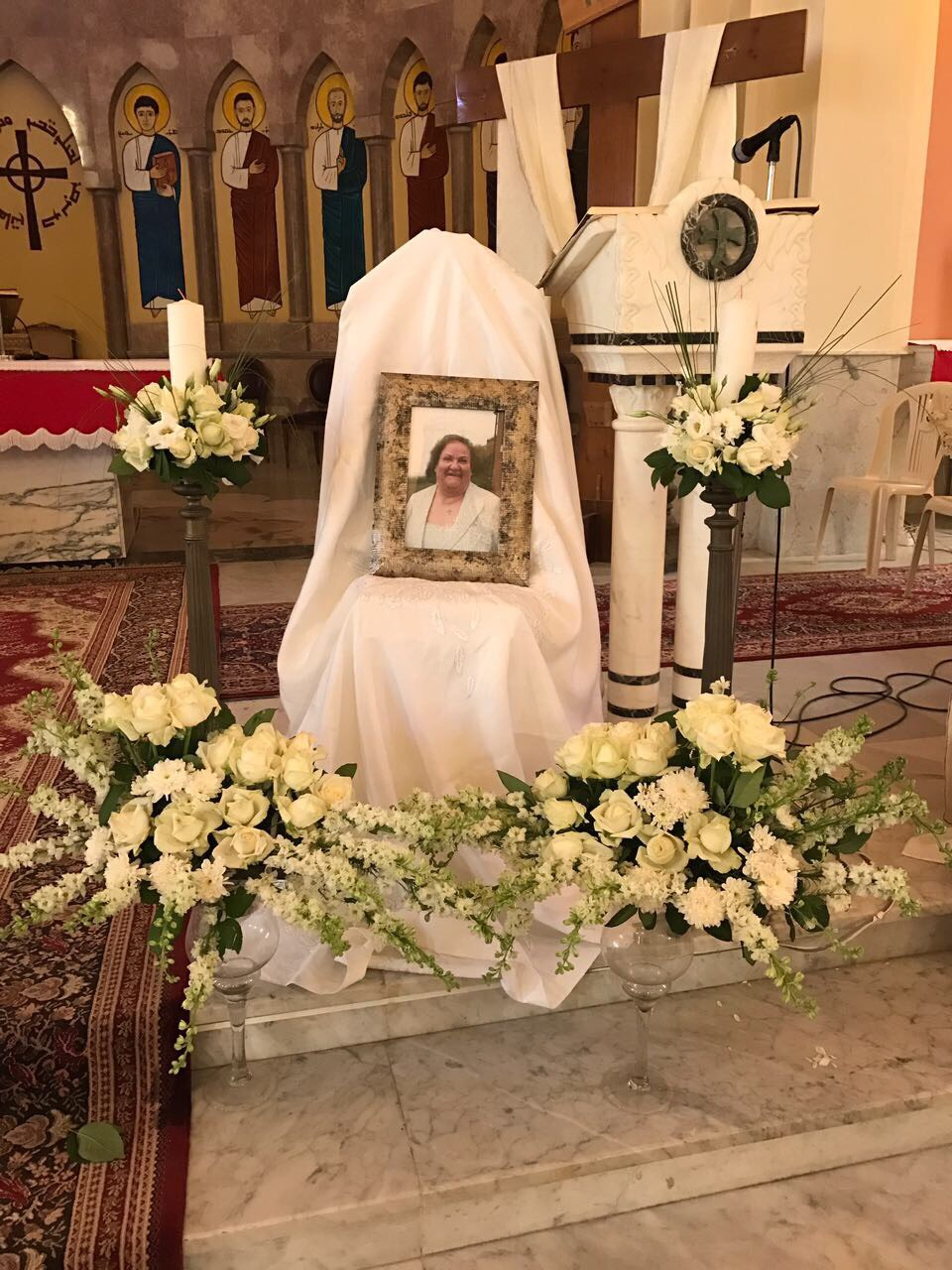 A photo of Tayta Lou Lou at her memorial mass in her hometown of Mazraat Al Toufah, Lebanon