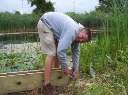 volunteer hammering nail into wood