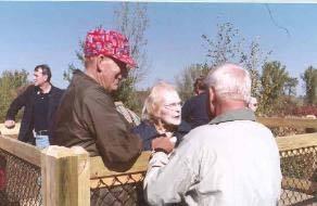 Volunteers chatting on Fred Wilder Observation Deck