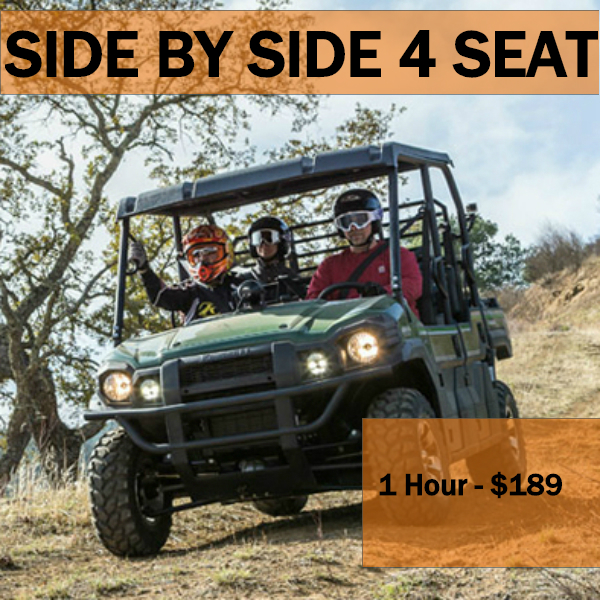 1 HR - PRIVATE ADVENTURE - Max 1 SBS per group, total Max 4 ATVs per group. SBS Min Age 15 years old to drive or 3 years old to ride as passenger