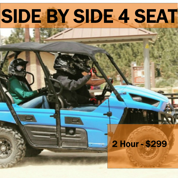 2 Hr - private adventure - Max 1 SBS per group, total Max 4 ATVs per group. SBS Min Age 15 years old to drive or 3 years old to ride as passenger