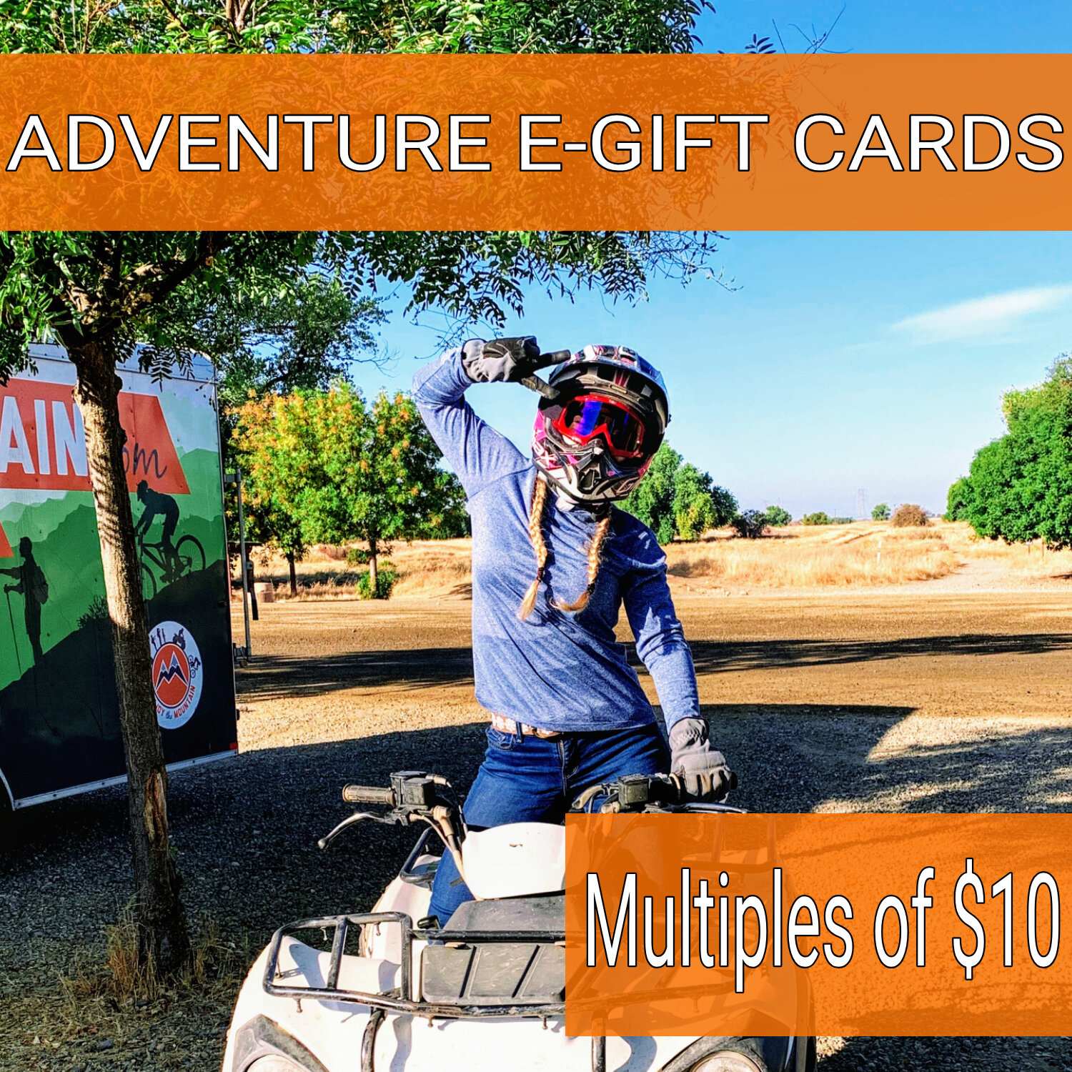 E-GIFT CARD - Does not expire. Any amount in multiples of $10. Can be used towards any adventure offered at each location. Can only be redeemed by making reservation online