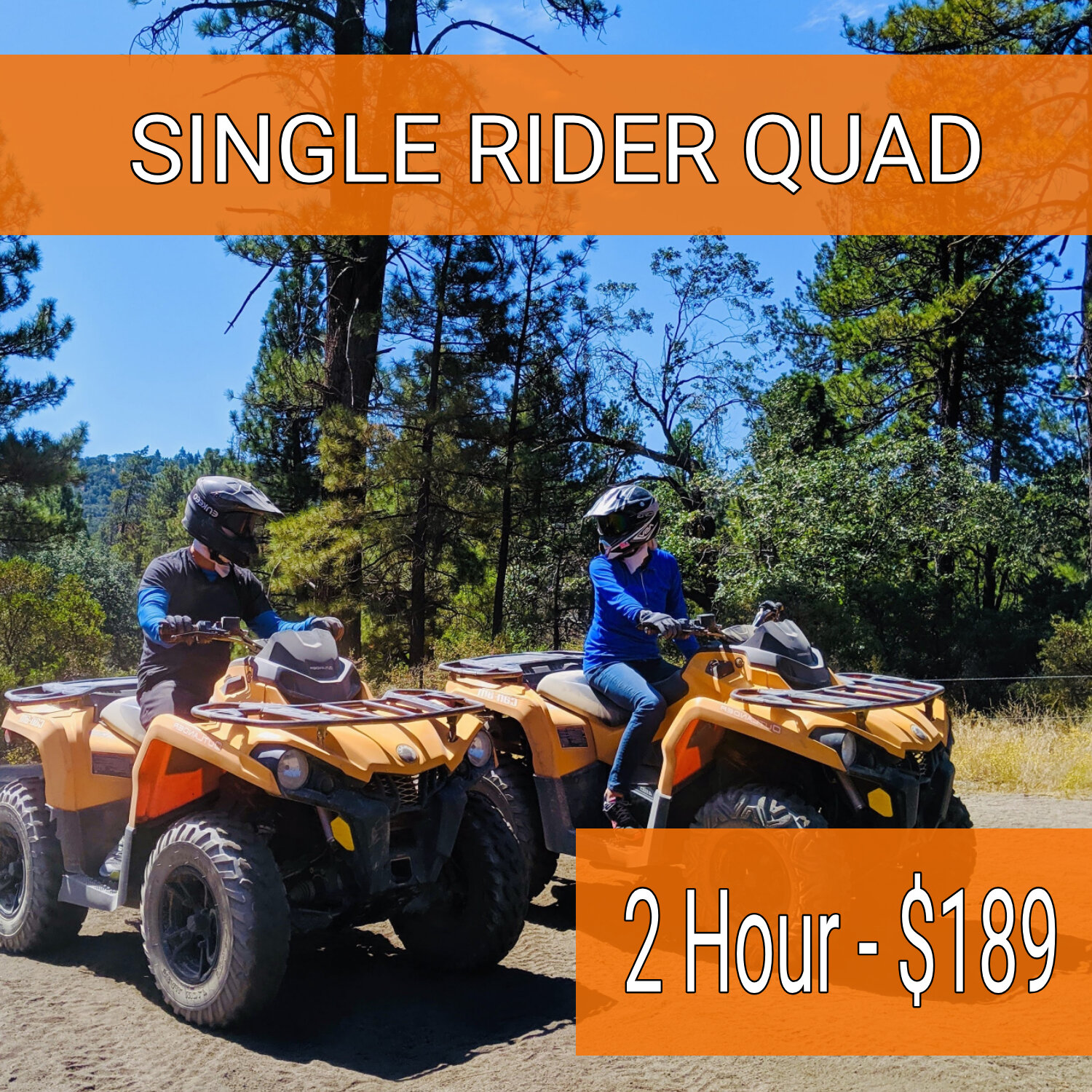 2 HR - private adventure - Max 4 ATVs per group. Min Age 14 years old
